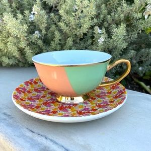 TEACUP saucer set English FLORAL print gold cup